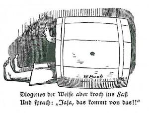 Illustration Diogenes in der Tonne
